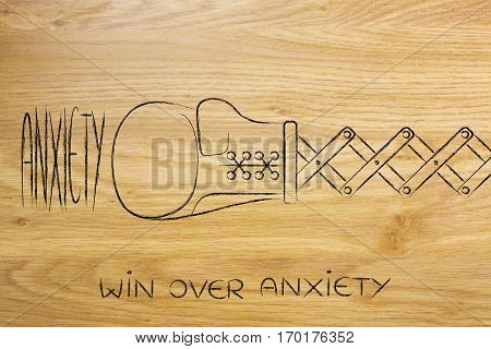 Boxing Glove Hitting The Word Anxiety