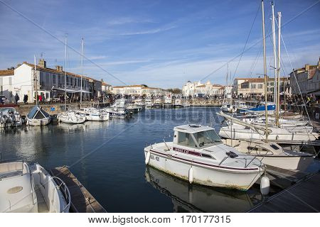 Port of Saint Martin De Re Ile de Re France with the marina and boats