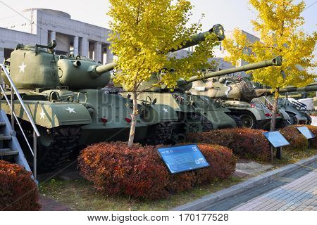 SEOUL - NOV 4, 2015: Row of tanks in military museum. Tanks drove through downtown Seoul at time largest military parade in South Korea