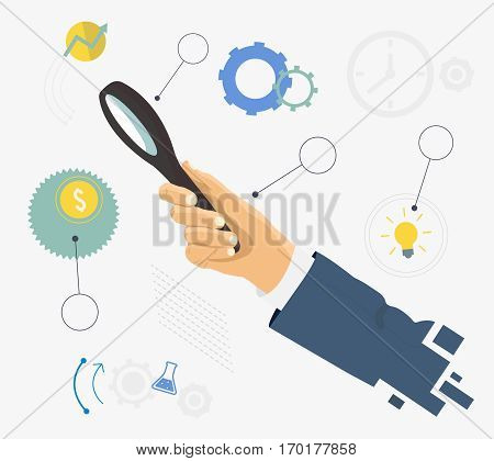 Human hand holding magnifying glass. Analysis, exploration, and business items. Flat design graph-ic elements.