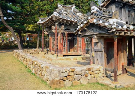 SEOUL - NOV 4, 2015: Old houses in ancient district of Seoul in national Folk Museum of Korea. In Seoul began working national museum of modern art, which has become second largest in capital