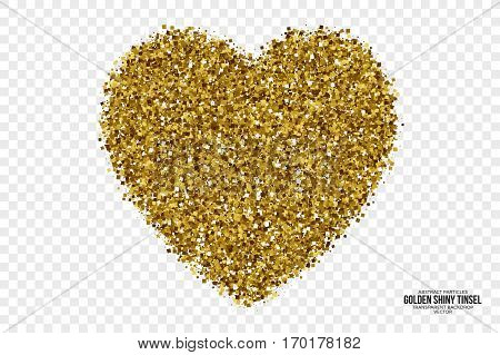Golden Shiny Tinsel Square Particles Abstract Vector Heart on Transparent Background. Valentine's Day Illustration. Celebration, holidays and party design element