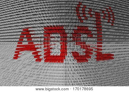 adsl in the form of binary code, 3D illustration