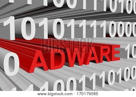 adware in the form of binary code, 3D illustration