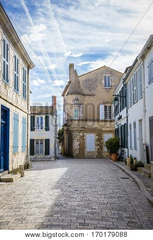 Little street of village of Ars en Re Ile de Re France