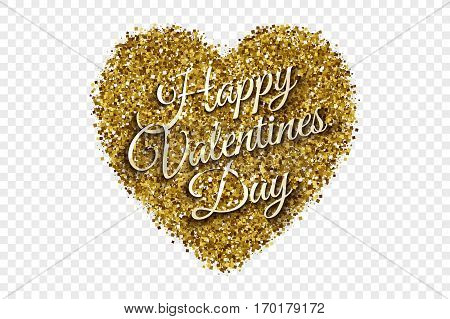 Happy Valentine's Day Illustration. Golden Shiny Tinsel Square Particles Abstract Vector Heart with 3d Text on Transparent Background. Celebration, holidays and party design element