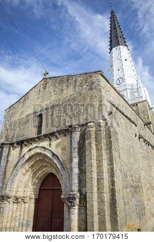 Village of Ars en Re with Saint-Etienne church Ile de Re France