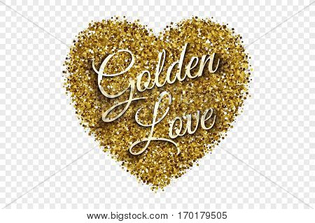 Golden Love Valentine's Day Vector Illustration. Golden Shiny Tinsel Square Particles Abstract Heart with 3d Text on Transparent Background. Celebration, holidays and party design element