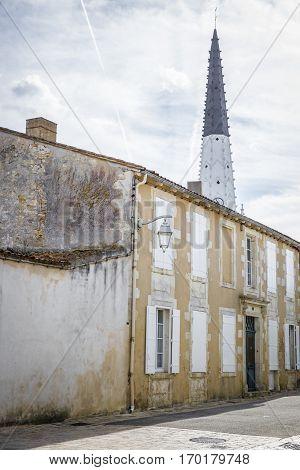 Village of Ars en Re with Saint-Etienne church spire Ile de Re France