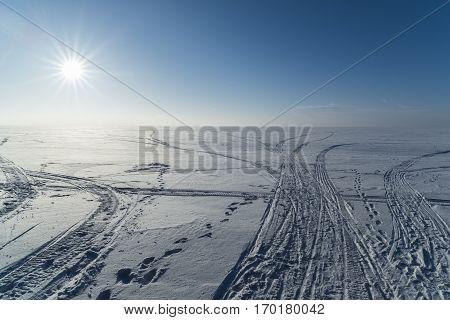 Russia Siberia Novosibirsk region winter landscape in the Ob reservoir