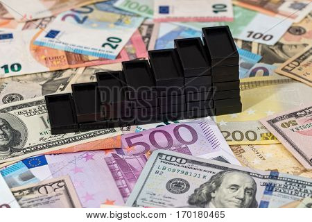 Domino as graphics in dollars and euros notes