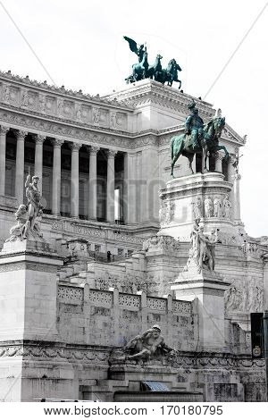 Vittoriano monument in Rome, Italy. Side view, close-up