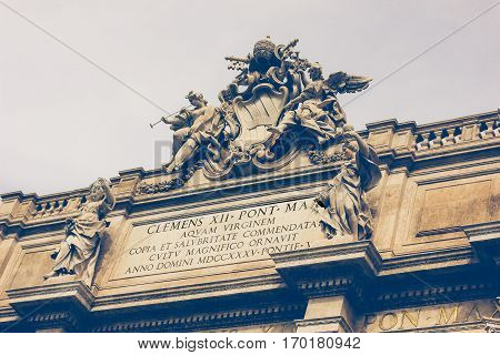 Rome, Italy. Architectural detail of the famous Fontana di Trevi. Close-up