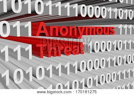 anonymous threat presented in the form of binary code 3d illustration