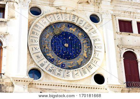 Zodiac astronomical Clock Tower Torre dell Orologio at st. Mark's Square Piazza San Marko in Venice, Italy