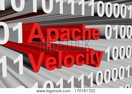 apache velocity is presented in the form of binary code 3d illustration