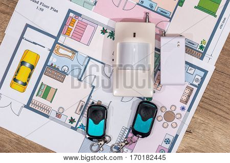 Alarm system cctv on house plan close up