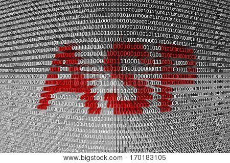 asp in the form of binary code, 3D illustration