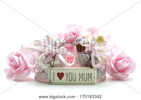 Mothers Day Gift with I Love you mum on a whiye background