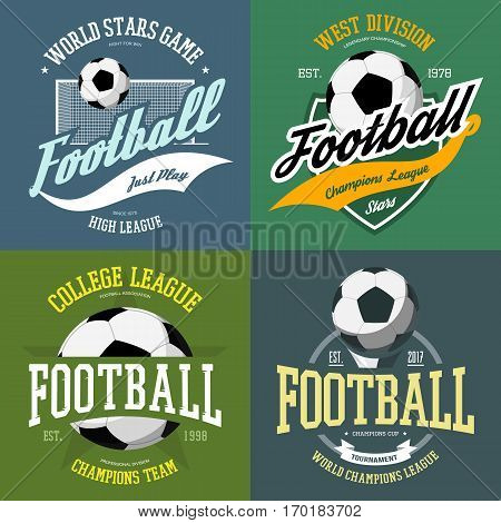 Soccer or football isolated set of icon or badges with flying ball and goal with net. Print for professional sportswear or t-shirt badge. Champion clothing or team league advertising, sport theme