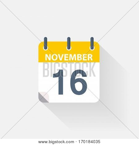 16 november calendar icon on grey background