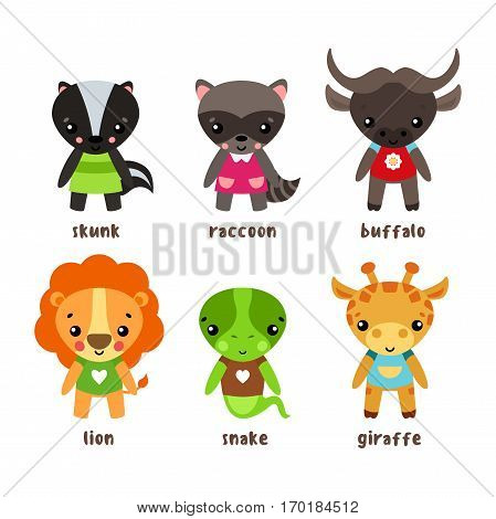 Smiling giraffe and kid skunk, child of common raccoon or northern american coon or racoon, lion with happy face and buffalo or bison in clothing, snake lizard cartoon character. Humor and zoology