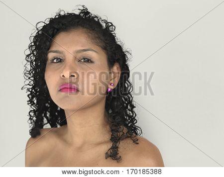 Lady Posing Studio Neutral Focused