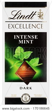MOSCOW, RUSSIA - FEBRUARY 1, 2017: Top view of Lindt EXCELLENCE intense mint Swiss dark chocolate bar isolated on white with clipping path. Lindt chocolate bar made by Lindt & Sprüngli AG
