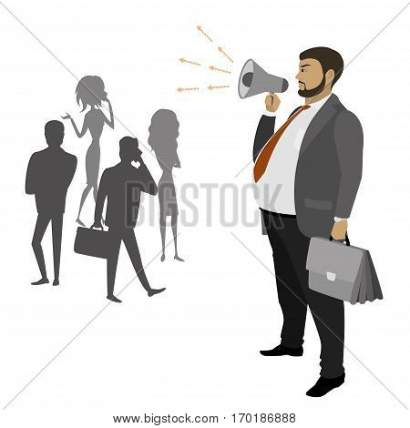 Fat Businessman with a megaphone and silhouettes of women and man, teamwork, isolated on white background, stock vector illustration