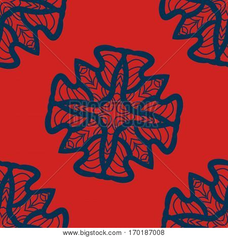 Set of blue on red mandalas seamless. Decorative symmetry ornaments. Anti-stress therapy pattern. Weave design elements tiled. Yoga inspired background for meditation poster. Unusual stylized flower shape. Oriental vector.