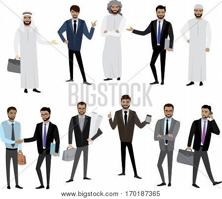 Big cartoon set of Arab men and women in different clothes and characters, isolated on white, stock vector illustration