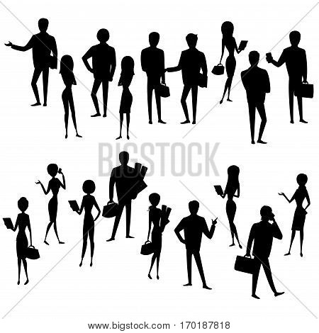 Big Set silhouette  businessmen and business women, isolated on white  background, cartoon stock vector illustration