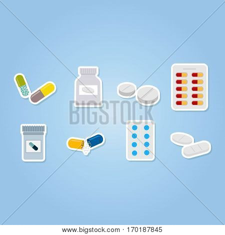 color icons set with  drugs pills and capsules  for your design