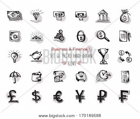 Hand-drawn sketch finance web icon set - economy money finance payments. With emphasis in round spots form. Vector illustrations Isolated black on white background