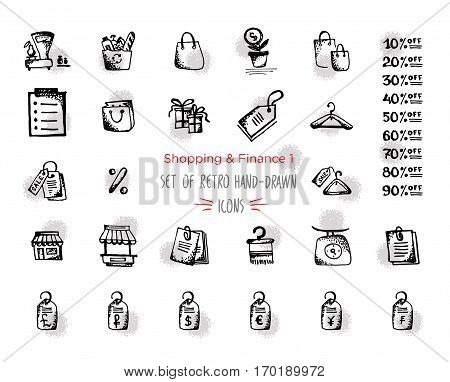 Hand-drawn sketch shopping web icon set - finance economy money payments. With emphasis in round spots form. Vector illustrations. Isolated black on white background