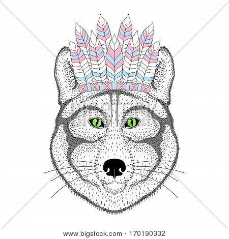 Cute wolf portrait with war bonnet on head. Hand drawn animal face, fashion animal cartoon in aztec style, illustration for t-shirt print, kids greeting card, invitation, tattoo design.