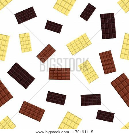 Seamless pattern of chocolate bars. White, milky, black chocolate, cacao product. Flat vector style
