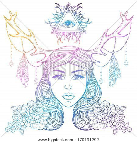 Beautiful girl with horns decorated boho elements. Color vector  woman with roses, all seeing eye. Forest nymph for adult coloring pages, spirituality, occultism symbol, gypsy soul, tattoo template.