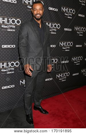 LOS ANGELES - JAN 27:  Isaiah Mustafa at the NHL 100 Gala at Microsoft Theater on January 27, 2017 in Los Angeles, CA