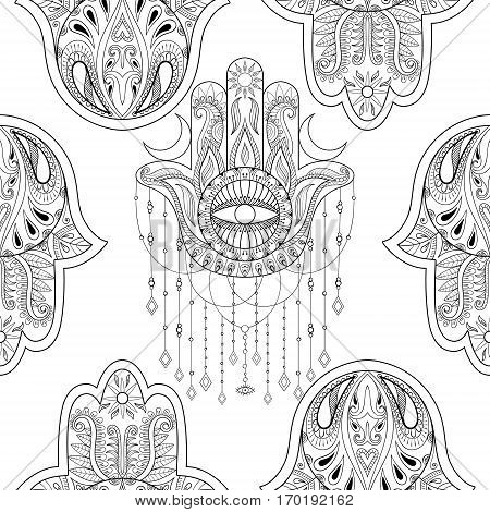 Hamsa hand seamless pattern, vector illustration. Hand drawn symbol of protection for adult anti stress coloring book, page in zentangle style. Blackwork yoga tattoo design.
