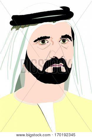 January 29, 2017: Portrait of His Highness Sheikh MOHAMMED BIN RASHID AL MAKTOUM Vice President and, Prime Minister of United Arab Emirates and Ruler of Dubai