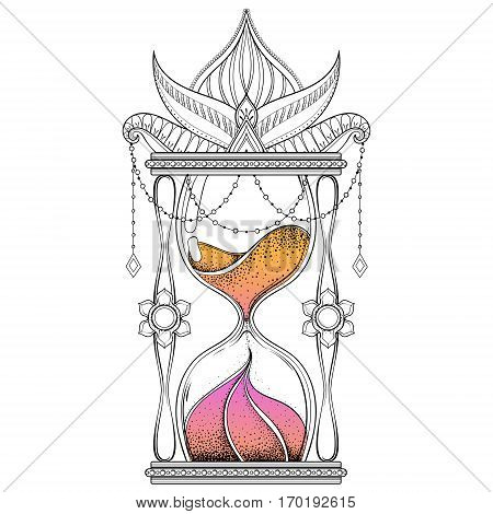 Vintage timer with color sand in dotwork tattoo design for alchemist t-shirt print. Hand drawn antique wizard hourglass vector illustration.