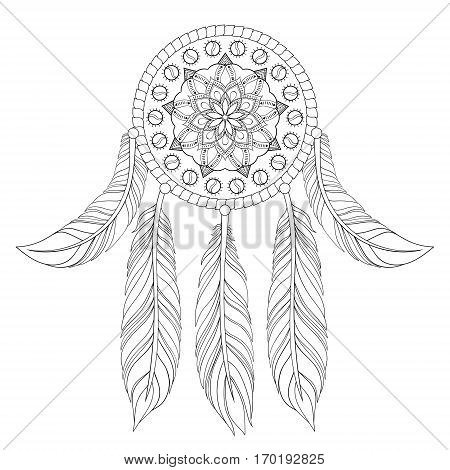 Hand drawn illustration of ethnic dream catcher in zentangle graphic style, native american symbol for greeting card, t-shirt print, poster.