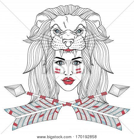 Girl portrait with lion head mask, leo face, woman with boho tribal arrows. Vector illustration for native american tattoo, adult coloring page, occultism t-shirt print.