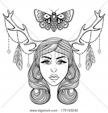Beautiful girl with boho deer's horns like shaman. Vector forest nymph, woman for adult coloring pages, spirituality, occultism symbol, tattoo, hand drawn ethnic t-shirt print.