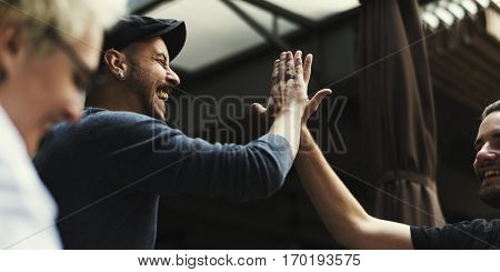 Men Hands High Five Meeting Greeting