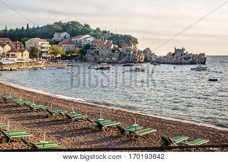 Pržno, MONTENEGRO - SEPTEMBER 22, 2016:The beach in the bay Pržno September evening, Montenegro.
