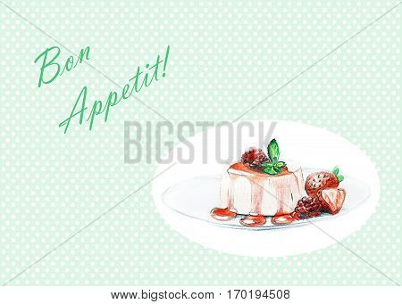 Dessert With Strawberry Sauce - Hand Drawn Sketch - Bon Appetit