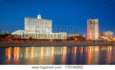 Russian House of Government and the Government of Moscow in the evening