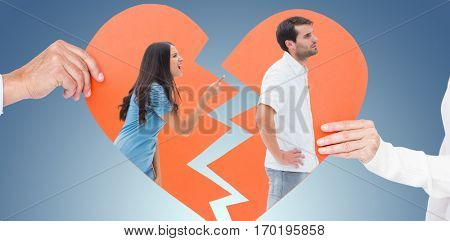 Angry brunette shouting at boyfriend against purple vignette
